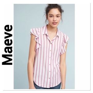 MAEVE Fairhope Red Striped Ruffle Top size XS